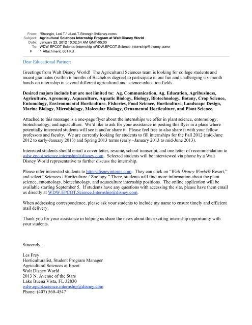 Agricultural Sciences Internship Program at Walt Disney World