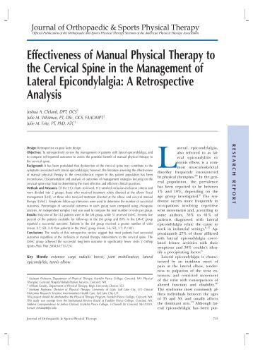 Effectiveness of Manual Physical Therapy to the Cervical Spine in ...