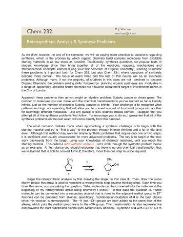 Retrosynthetic Analysis - UIC Department of Chemistry