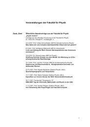 Veranstaltungen der Fakultät für Physik