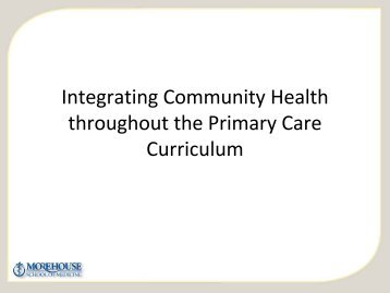 Integrating Community Health throughout the Primary Care Curriculum