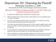 Depositions 101: Deposing the Plaintiff - International Association of ...