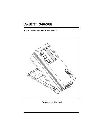 968 Spectrophotometer Operation Manual ***discontinued ... - X-Rite