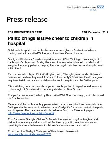 Panto brings festive cheer to children in hospital - The Royal ...