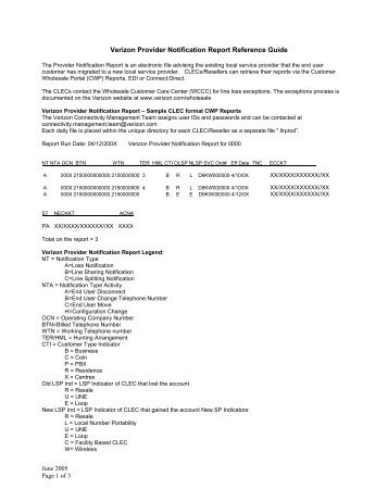 Verizon Provider Notification Report
