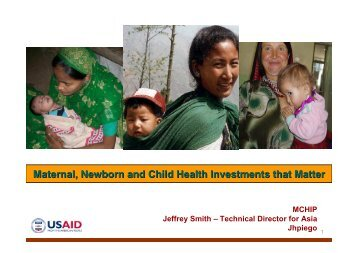 Maternal, Newborn and Child Health Investments that Matter
