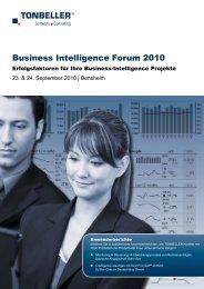 Business Intelligence Forum 2010 - TONBELLER® AG