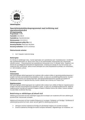Utbildningsplan - Institutionen för omvårdnad - Umeå universitet