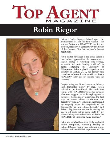 Robin Riegor - Top Agent Magazine