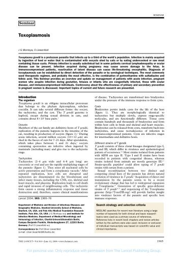 Toxoplasmosis - Striepen Lab Page