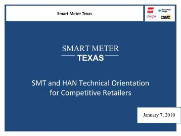 Overview of the Smart Meter Texas - Public Utility Commission of ...