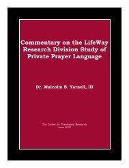 Commentary on the LifeWay Research Division ... - Baptist Theology