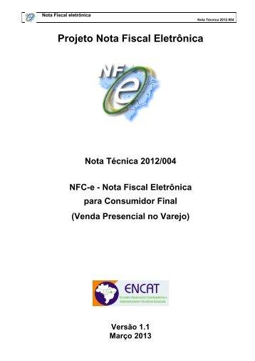 Nota Técnica 2012/004 - Secretaria de Estado da Tributação