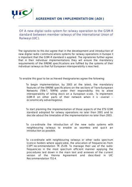EIRENE Memorandum of Understanding - ERTMS