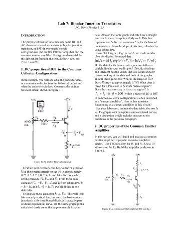 Lab 7: Bipolar Junction Transistors - Nuclear Physics Group