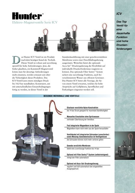 ICV Elektro-Magnetventile Serie ICV - Hunter Industries