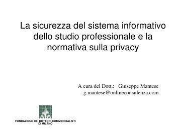 La sicurezza del sistema informativo dello studio professionale e la ...