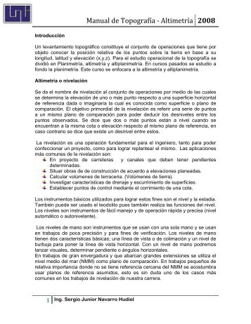 Altimetria o nivelacion - Ing. Sergio Navarro Hudiel