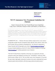 NCCN Announces New Treatment Guidelines for Patients - NCCN.org