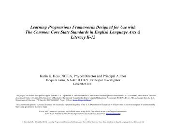 Learning Progressions Frameworks Designed for Use with The ...