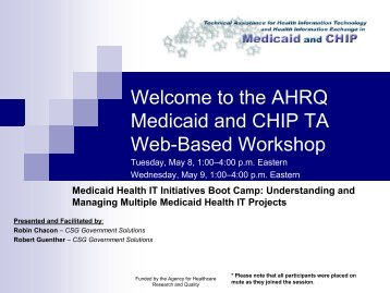 Medicaid Health IT Initiatives Boot Camp: Understanding and ...