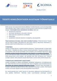 tiedote henkilökohtaisen avustajan työnantajalle - Socom