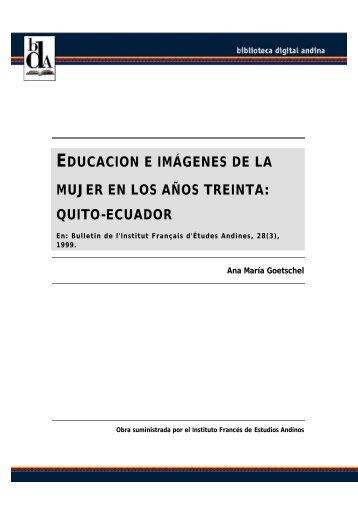 educacion e imágenes de la mujer en los años treinta: quito-ecuador