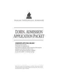 Full DMin Application - Dallas Theological Seminary