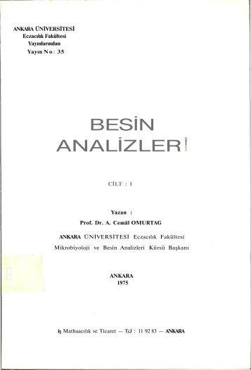 BESİN ANALİZLER - Bilecik Üniversitesi