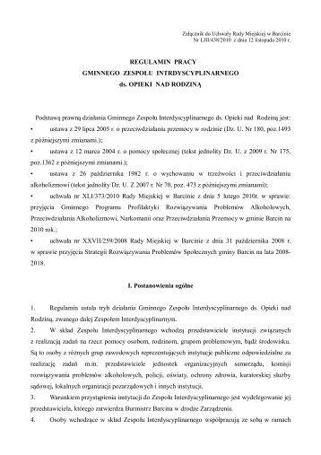 Załącznik do uchwały Nr LIII/438/2010 Rady Miejskiej w Barcinie z ...