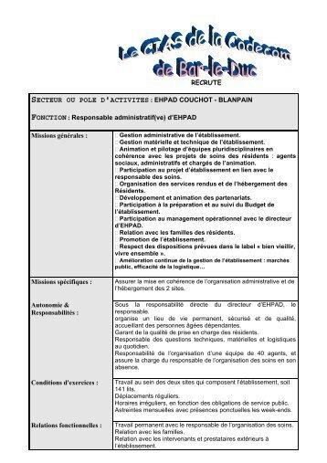 Responsable administratif(ve) d'EHPAD Missions gén - Bar-le-Duc