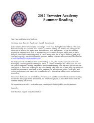 2012 Summer Reading - Brewster Academy