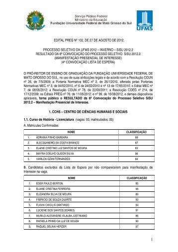 Sistema de Seleção Unificado 2012 - Inverno - copeve - ufms