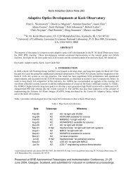 Adaptive Optics Developments at Keck Observatory - WM Keck ...