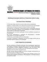 PROGRAMA DE INICIAÇÃO CIENTÍFICA E TECNOLÓGICA ... - Ulbra
