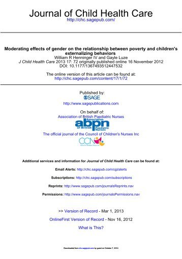 Moderating effects of gender on the relationship between poverty ...