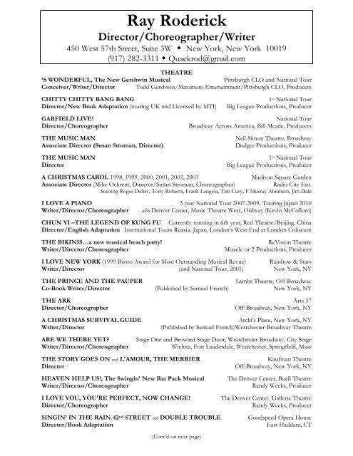 Rays Directing Resume 5 17 10