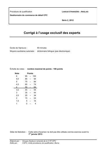 Corrigé à l'usage exclusif des experts - Sec Suisse