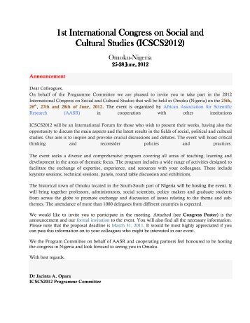 1st International Congress on Social and Cultural ... - Prime Journals