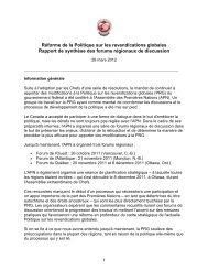 Réforme de la Politique sur les revendications globales Rapport de ...