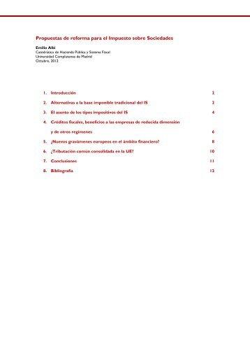 Propuestas de reforma para el Impuesto sobre Sociedades