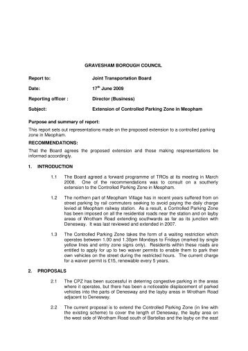 Extension of Controlled Parking Zone in Meopham PDF 26 KB