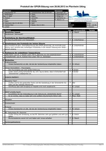 Protokoll der GPGR-Sitzung vom 26.06.2013 im Pfarrheim Utting