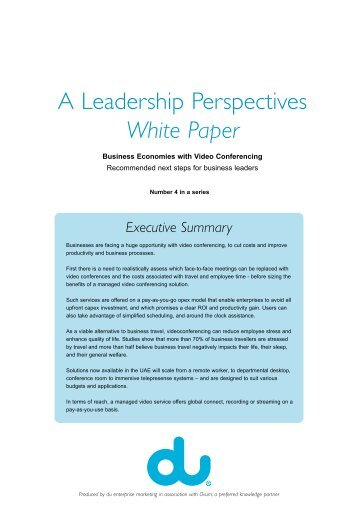 DU White Paper – Business Economies with Video Conferencing ...