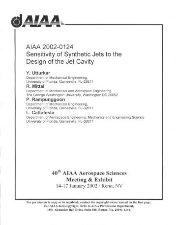 Sensitivity of Synthetic Jets to the Design of the Jet Cavity. Y ...