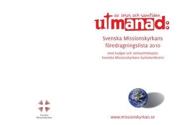 Svenska Missionskyrkans föredragningslista 2010 med budget och ...