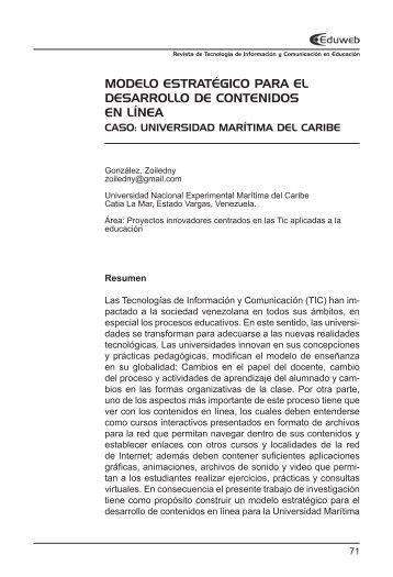Modelo estratégico para el desarrollo de contenidos en línea | Caso