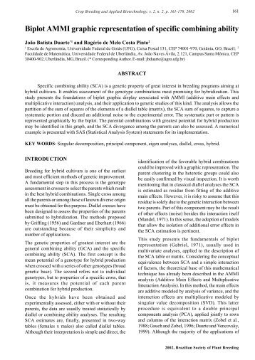 Biplot AMMI graphic representation of specific combining ... - SBMP