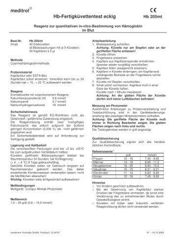 meditrol® Hb-Fertigküvettentest eckig - Medichem-online.de