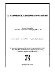 QUELS IMPACTS POUR LES COOPÉRATIVES D'HABITATION